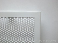 White fireplace ventilation grille with a narrow frame