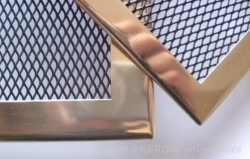 Brass fireplace grille with a narrow frame