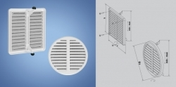 PVC ventilation grills with mesh against insects - adjustable HACO