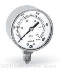 """Манометър за газ, радиален Ф63 0-60 mbar + 0-600 mmH20 1/4"""""""
