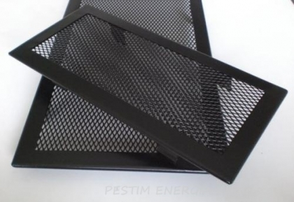 Fireplace ventilation grille opaque black colour with a narrow frame