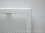 Бяла решетка за камина с тесен кант