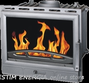 Cast iron solid fuel fireplace with built in water jacket for incorporation Barun Insert Termo