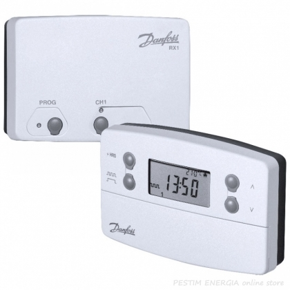 Battery Powered Wireless Programmable Room Thermostat Danfoss TP 7000 with RX Receiver