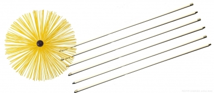 Universal chimney cleaning brush (diameter 40cm) + 6 sticks 1m (all 6m)