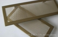 Fireplace ventilation grille opaque brass colour with a narrow frame