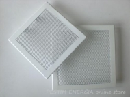 Fireplace grille white colour with a wide frame