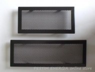 Fireplace grille opaque black colour with a wide frame