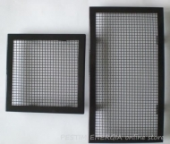Fireplace grille glosy black colour with a wide frame