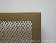 Fireplace grille opaque brass colour with a wide frame