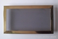 Brass fireplace grille with a wide frame