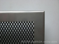Inox fireplace grille with a wide frame