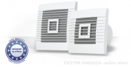 Domestic wall fan with gravity shutter pRestige