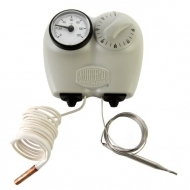 Boxed adjustable thermostat 0/90°C 1500 mm capillary, with control thermometer 0/120°C 1500 mm capillary